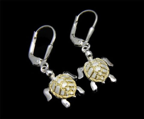 SILVER 925 YELLOW GOLD PLATED HAWAIIAN SEA TURTLE EARRINGS LEVERBACK 12.30MM