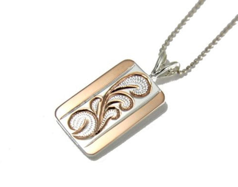 ROSE GOLD PLATED STERLING SILVER 925 HAWAIIAN QUEEN SCROLL PENDANT THICK HEAVY