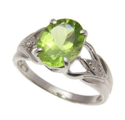 2.35CT 7.9X10MM GENUINE OVAL PERIDOT & DIAMOND RING SET IN SOLID 14K WHITE GOLD
