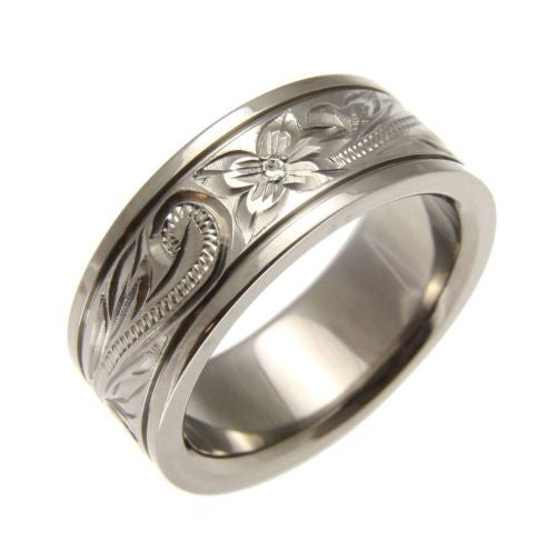 TITANIUM HAND ENGRAVED HAWAIIAN PLUMERIA SCROLL BAND RING SMOOTH EDGE 8MM