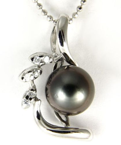 "9MM GENUINE TAHITIAN PEARL PENDANT SOLID 925 SILVER CZ (18"" CHAIN INCLUDED)"