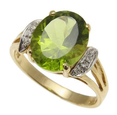 3.850CT 9X11MM GENUINE OVAL PERIDOT & DIAMOND RING SET IN SOLID 14K YELLOW GOLD