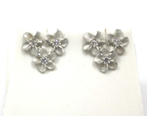 14MM SOLID 14K WHITE GOLD HAWAIIAN DIAMOND CUT PLUMERIA FLOWER STUD EARRINGS
