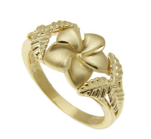SOLID 14K YELLOW GOLD HAWAIIAN 11MM PLUMERIA FLOWER 6 MAILE LEAF RING
