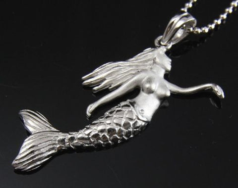 STERLING SILVER 925 HAWAIIAN MERMAID PENDANT RHODIUM