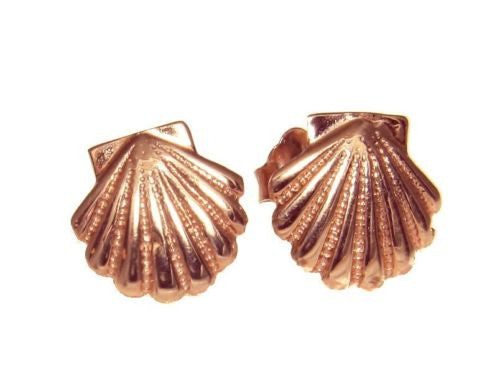 9MM SOLID 14K PINK ROSE GOLD HAWAIIAN SEA SUNRISE SHELL STUD POST EARRINGS