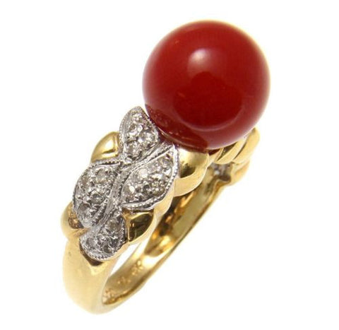 GENUINE NATURAL NOT ENHANCED RED CORAL BALL DIAMOND RING SOLID 18K YELLOW GOLD