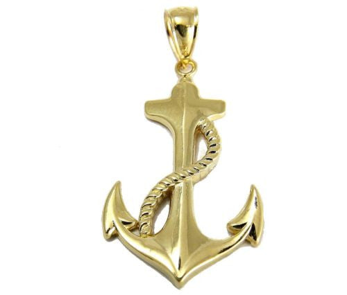 SOLID 14K YELLOW GOLD SHINY HAWAIIAN ANCHOR ROPE CHARM PENDANT SMALL 11.45MM