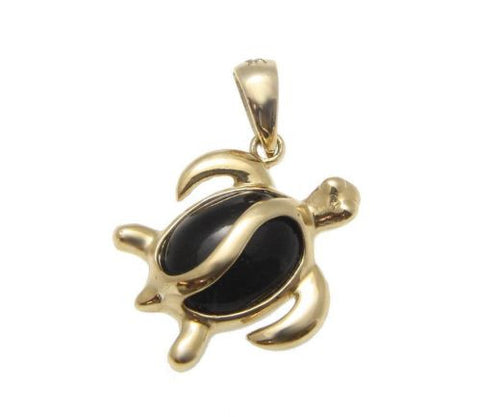 GENUINE NATURAL BLACK CORAL PENDANT HAWAIIAN HONU TURTLE SOLID 14K YELLOW GOLD