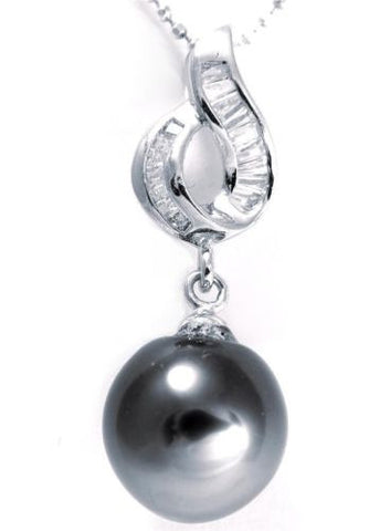 "10.37MM GENUINE TAHITIAN PEARL PENDANT SOLID 925 SILVER CZ (18"" CHAIN INCLUDED)"