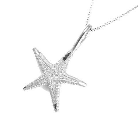 SOLID 14K WHITE GOLD HAWAIIAN STARFISH SEASTAR CHARM PENDANT DIAMOND CUT 15.50MM