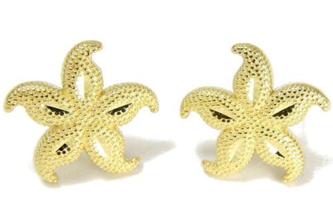 11MM 14K YELLOW GOLD HAWAIIAN FANCY SEASTAR STARFISH STUD EARRINGS DIAMOND CUT