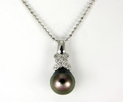 "8.25MM GENUINE TAHITIAN PEARL PENDANT SOLID 925 SILVER CZ (18"" CHAIN INCLUDED)"