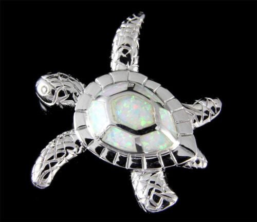 INLAY OPAL HAWAIIAN SEA TURTLE SLIDE PENDANT SOLID 925 STERLING SILVER 27MM