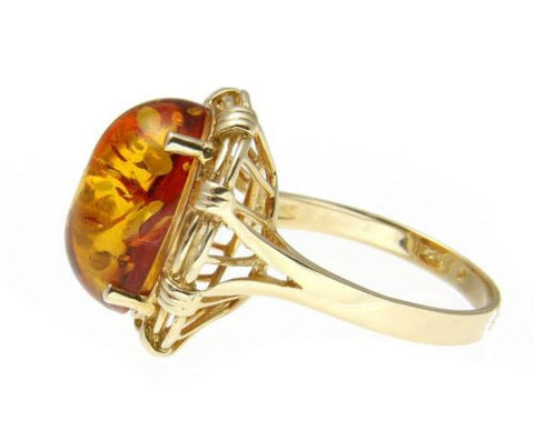 11.86MMX15.88MM GENUINE THICK OVAL CABUCHON AMBER RING SOLID 14K YELLOW GOLD