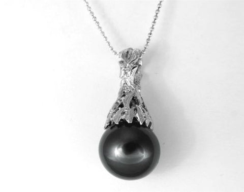 "12.73MM GENUINE TAHITIAN PEARL PENDANT SOLID 925 SILVER CZ (18"" CHAIN INCLUDED)"