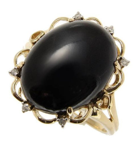 GENUINE NATURAL OVAL CABOCHON BLACK CORAL DIAMOND RING IN SOLID 14K YELLOW GOLD