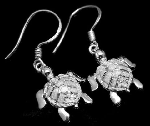 STERLING SILVER 925 HAWAIIAN SEA TURTLE WIRE HOOK EARRINGS 12.30MM