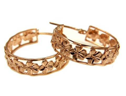 SOLID 14K ROSE GOLD HAWAIIAN PLUMERIA FLOWER HOOP EARRINGS DIAMOND CUT BORDER