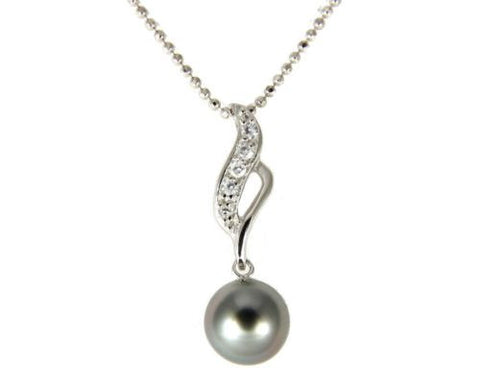 "8.50MM GENUINE TAHITIAN PEARL PENDANT SOLID 925 SILVER CZ (18"" CHAIN INCLUDED)"