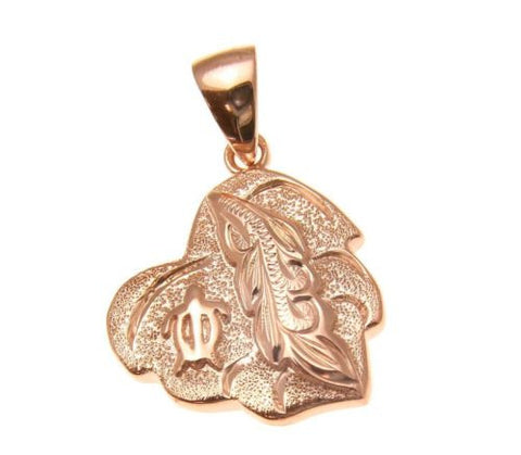 ROSE GOLD PLATED SILVER 925 HAWAIIAN SCROLL MAILE HONU TURTLE HEART PENDANT 14MM