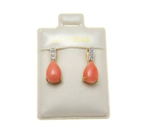GENUINE NATURAL PINK CORAL DIAMOND STUD POST EARRINGS SOLID 14K YELLOW GOLD