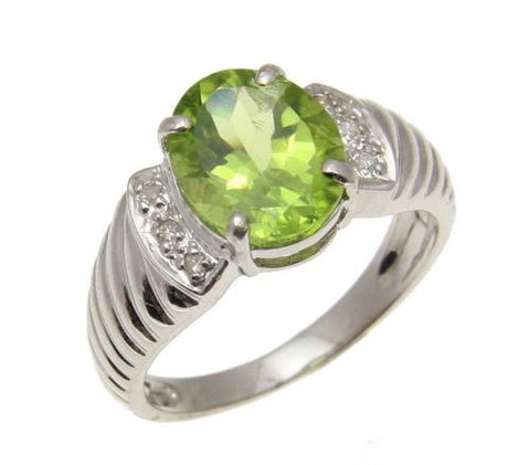 2.39CT 8X10MM GENUINE OVAL PERIDOT & DIAMOND RING SET IN SOLID 14K WHITE GOLD