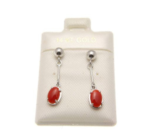 GENUINE NATURAL RED CORAL BALL DANGLE EARRINGS SOLID 14K WHITE GOLD