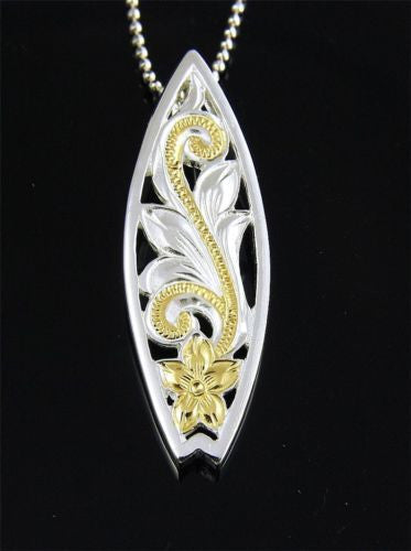 SILVER 925 YELLOW GOLD PLATED HAWAIIAN CUT OUT PLUMERIA SCROLL SURFBOARD PENDANT