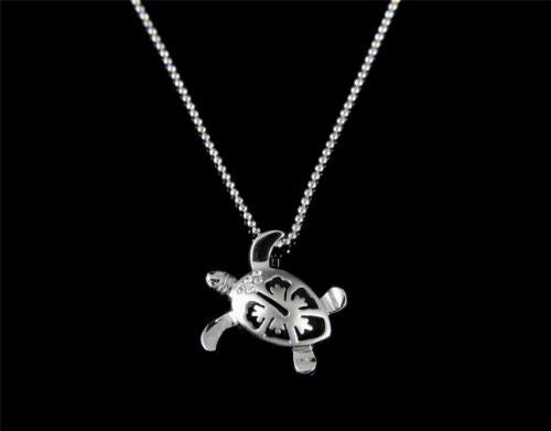 STERLING SILVER 925 HAWAIIAN HONU TURTLE HIBISCUS PENDANT CZ SMALL MEDIUM LARGE