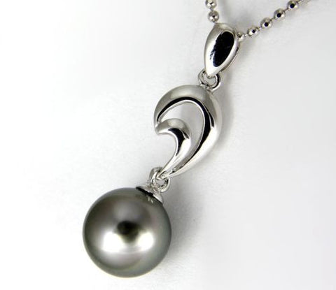 "8.75MM GENUINE TAHITIAN PEARL PENDANT SOLID 925 SILVER (18"" CHAIN INCLUDED)"