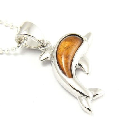 GENUINE INLAY HAWAIIAN KOA WOOD DOLPHIN PENDANT 23MM STERLING SILVER 925