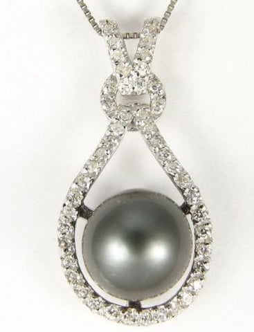 "8.68MM GENUINE TAHITIAN PEARL PENDANT SOLID 925 SILVER CZ (18"" CHAIN INCLUDED)"