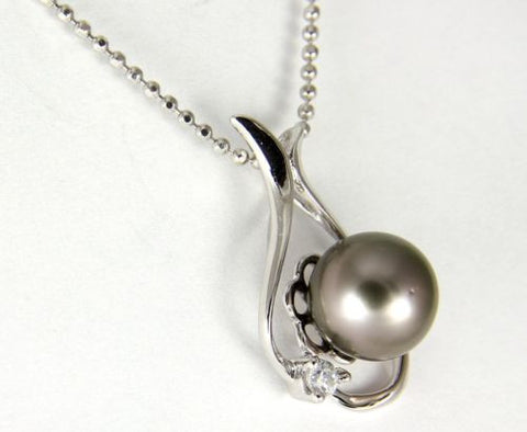 "8.56MM GENUINE TAHITIAN PEARL PENDANT SOLID 925 SILVER CZ (18"" CHAIN INCLUDED)"