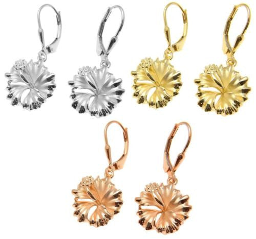 YELLOW ROSE GOLD PLATED SILVER 925 HAWAIIAN HIBISCUS LEVERBACK EARRINGS 15MM