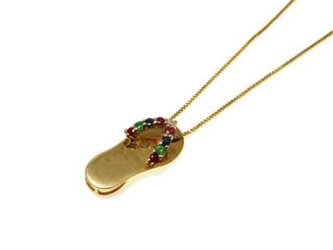 RUBY EMERALD SAPPHIRE DIAMOND 14K YELLOW GOLD HAWAIIAN FLIP FLOP SLIPPER PENDANT