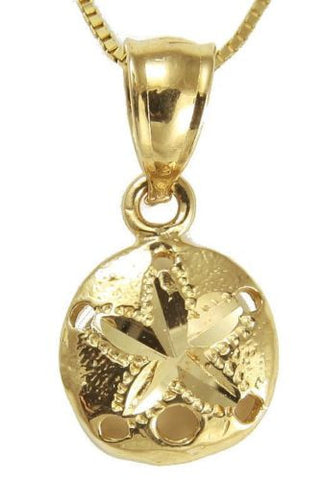 SOLID 14K YELLOW GOLD HAWAIIAN DIAMOND CUT SAND DOLLAR CHARM PENDANT SMALL 9MM