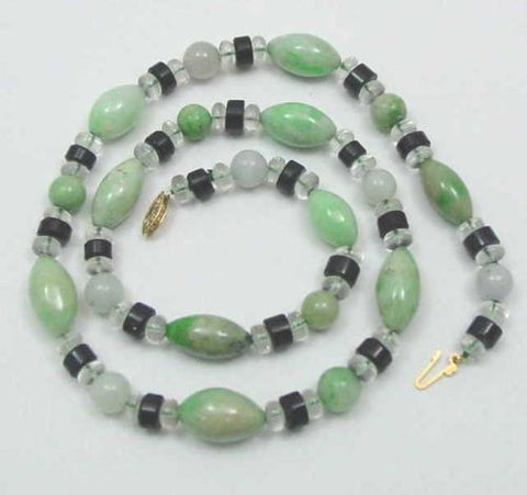GENUINE JADE JADEITE ONYX CRYSTAL STRAND NECKLACE 14K GOLD CLASP 21""