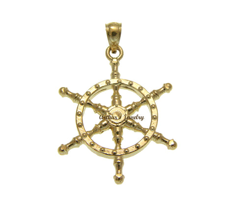 SOLID 14K YELLOW GOLD 2 SIDED DIAMOND CUT SHIP WHEEL CHARM PENDENT 23.50MM