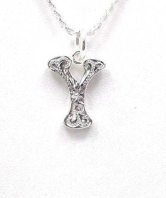 "925 HEAVY HAWAIIAN PLUMERIA SCROLL INITIAL ""Y"" PENDANT"