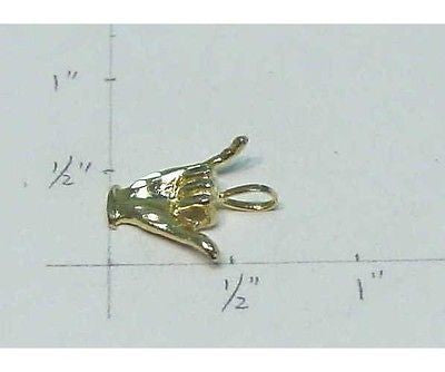 14K SOLID YELLOW GOLD HAWAIIAN HAWAII HAND SHAKA HANG LOOSE SURFER CHARM PENDANT