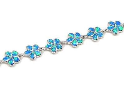 "INLAY OPAL 10MM HAWAIIAN PLUMERIA FLOWER BRACELET 7""+"