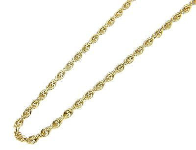 2MM SOLID 14K YELLOW GOLD DIAMOND CUT ROPE CHAIN ANKLET 10""