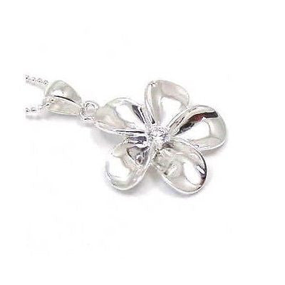 29MM SILVER 925 SHINY HAWAIIAN PLUMERIA FLOWER PENDANT