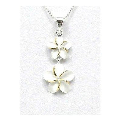 SILVER 925 HAWAIIAN SMALL DANGLE LARGE PLUMERIA 2 TONE