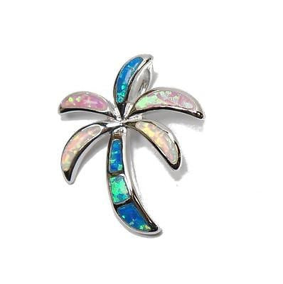 INLAY TRICOLOR OPAL HAWAIIAN PALM TREE SLIDE PENDANT SOLID STERLING SILVER 925 MEDIUM