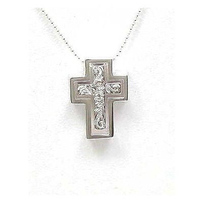 925 STERLING SILVER 925 HIS HERS HAWAIIAN PLUMERIA SCROLL CROSS PENDANT