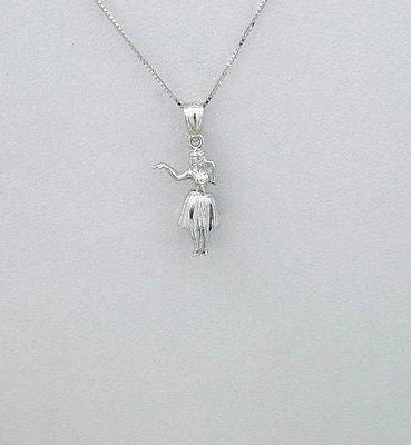 14K SOLID WHITE GOLD SMALL 3D MOVABLE HAWAIIAN HULA GIRL DANCER CHARM PENDANT