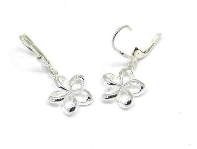 14MM SILVER 925 HAWAIIAN OPEN PLUMERIA FLOWER LEVERBACK EARRINGS