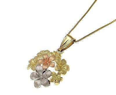 SOLID 14K TRI COLOR YELLOW PINK ROSE WHITE GOLD HAWAIIAN PLUMERIA FLOWER PENDANT